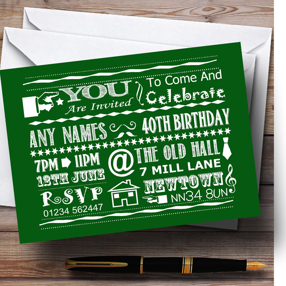 Cool Vintage Fun Chalk Typography Grün Personalised Birthday Party Invitations