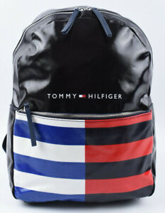 TOMMY-HILFIGER-Oilcloth-Black-Striped-Backpack-School-Travel-Leisure