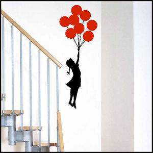 Grande Fille Banksy Ballon Choix 14 Couleurs Chambre Mur Autocollant Art Mural Decal-afficher Le Titre D'origine Htodknzg-07222926-403890875