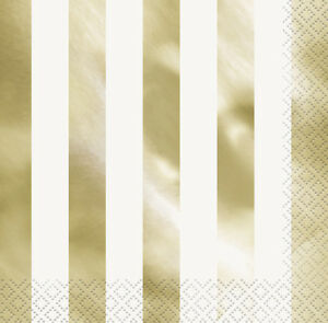 Image Is Loading GOLD METALLIC Shiny STRIPES LUNCH NAPKINS 16 Birthday