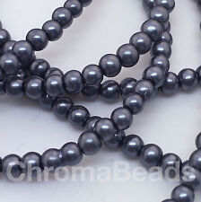 3mm Glass Faux Pearls strand - Charcoal Grey (230+ beads) jewellery-making craft