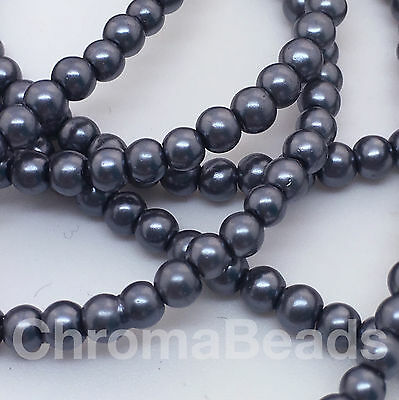 230+ beads jewellery making 3mm Glass Faux Pearls strand Silver Grey craft
