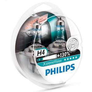 H4-PHILIPS-Xtreme-Vision-3700K-130-Ultimate-White-Light-Bulbs-Headlamp
