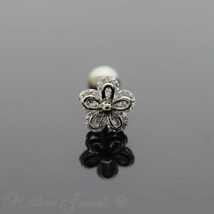SIMULATED-DIAMOND-DAISY-FLOWER-SILVER-SURGICAL-STEEL-TRAGUS-HELIX-BODY-LABRET
