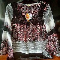 Lily White Blouse Boho Xs Lace Floral Butterfly Sleeve Black Pink White