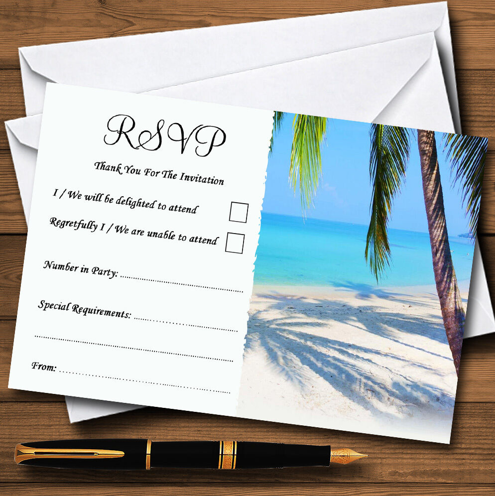 Tropical Beach Palm Tree Personalised Wedding or Party RSVP Cards