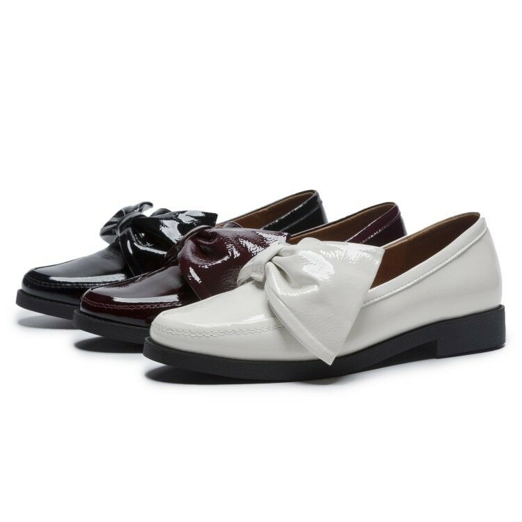 donna Chunky Low Heel Slip On Loafers Patent Leather Causal Oxfords Solid scarpe