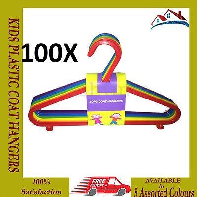 Nuovo 100 X Multi Colore Per Bambini In Plastica Appendiabiti Neonato Abbigliamento-mostra Il Titolo Originale