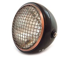 "7"" Side Mount Motorcycle Headlight w/ Grill - Matte Black Gloss Bronze - Clear"