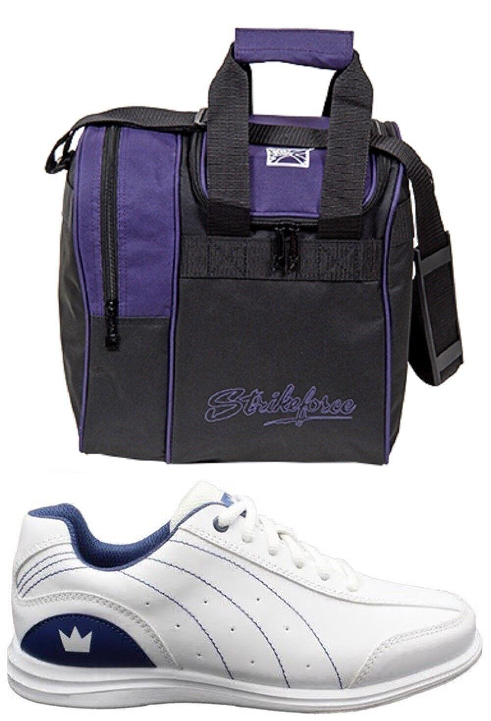 Womens MYSTIC Bowling Ball shoes White bluee Sizes 7-11 WIDE & Purple 1 Ball Bag