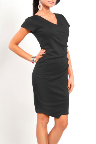 Top Women/'s Wiggle Dress V Neck Wrap Dress Short Sleeve Pencil Tunic Sizes 8-16
