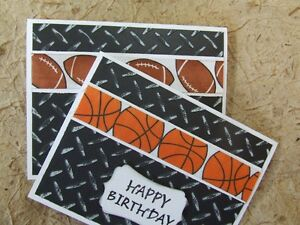 Lot 2 handmade birthday cards masculine football basketbal mens image is loading lot 2 handmade birthday cards masculine football basketbal bookmarktalkfo Image collections