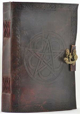 """Pentagram Leather Latch Journal Grimoire (BOS) 7"""" by 10""""  Wicca Pagan"""