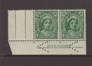 Australia-Victoria-VG-perfin-on-1-d-BY-AUTHORITY-imprint-pair-MNH-with-selvedge