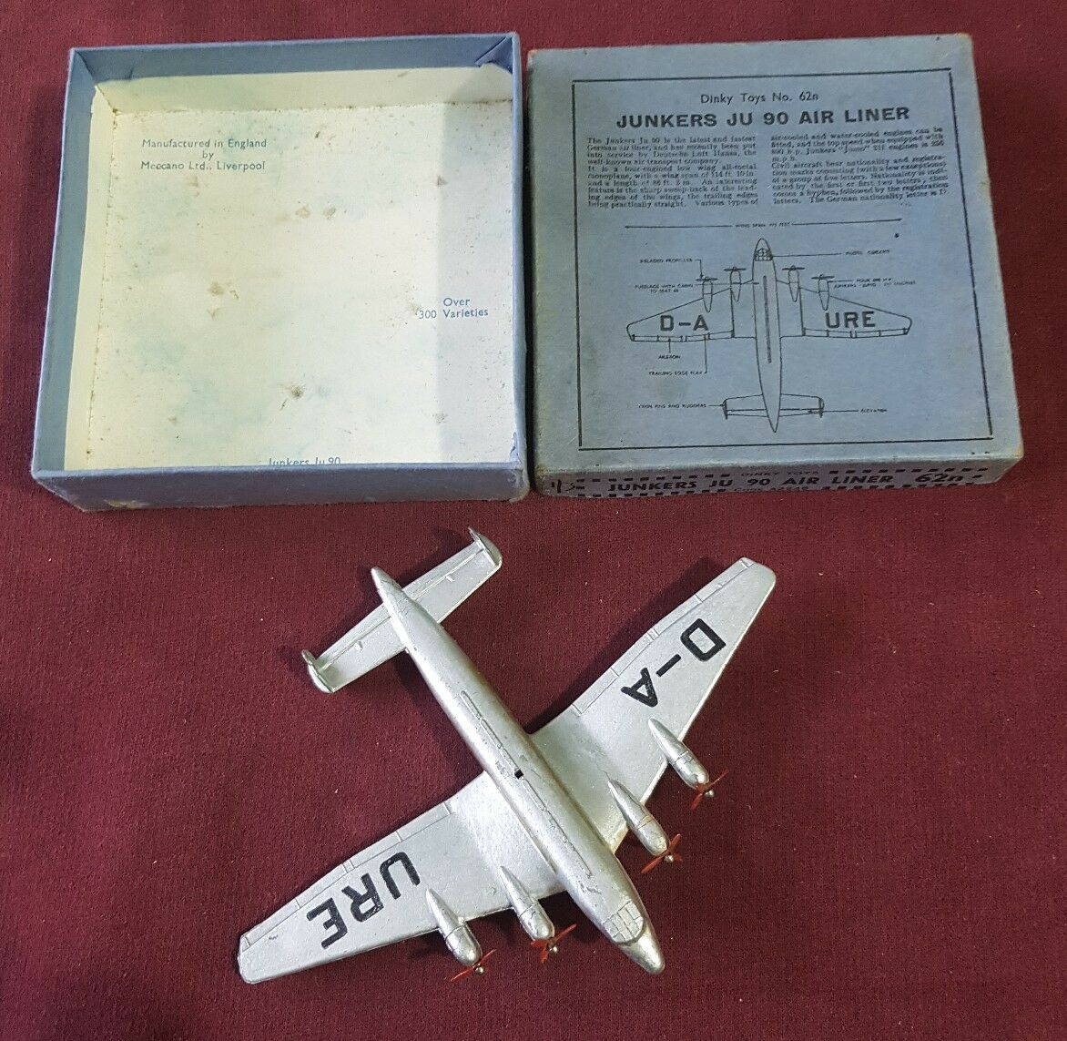 In scatola di pre-guerra DINKY 62n JUNKERS JU 90 AEREO di linea