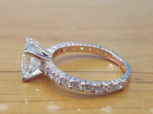 1.5 Ctw Princess Cut Diamond Solitaire Engagement Ring in White Gold Finish 2