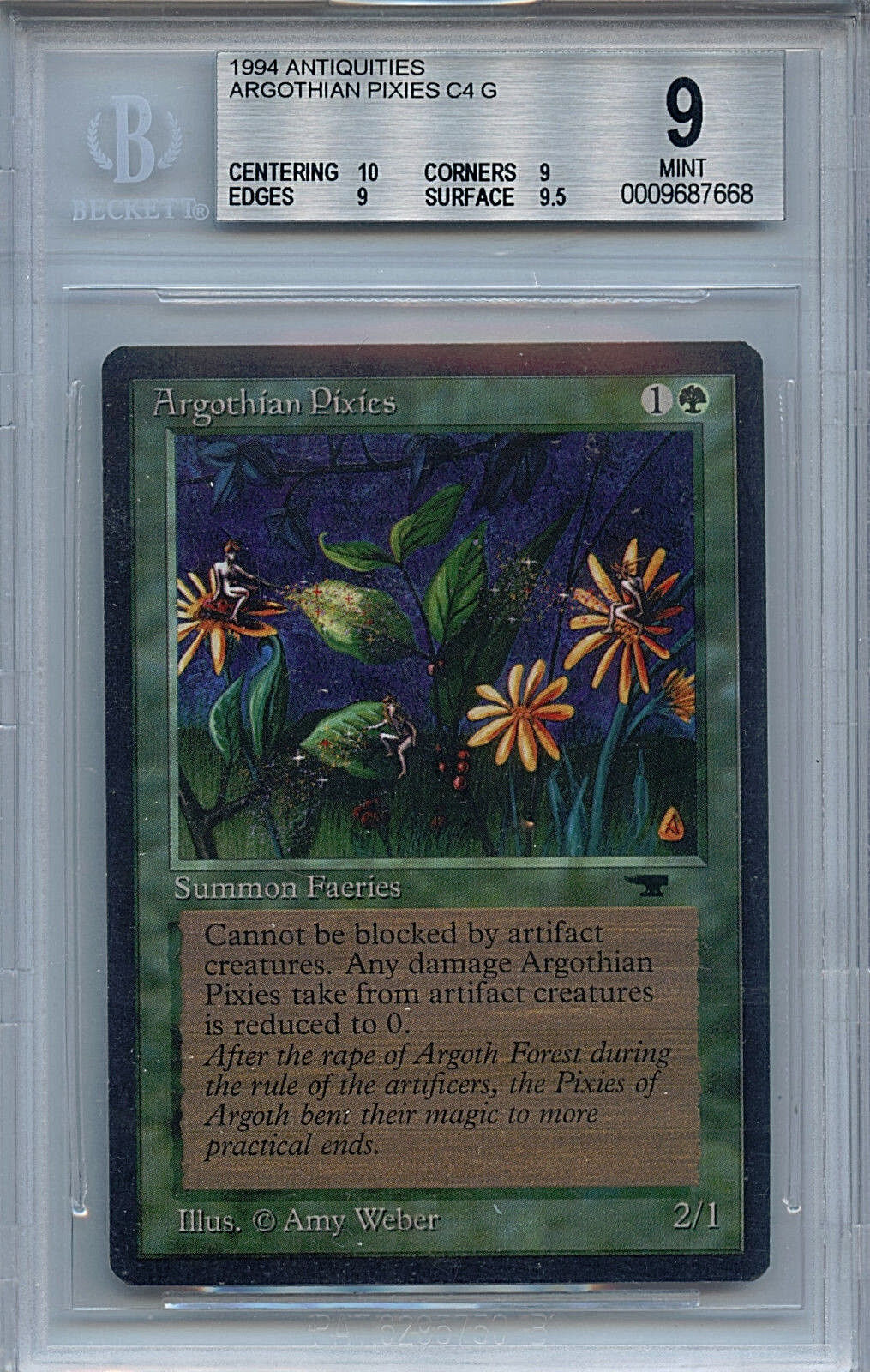 MTG Antiquities Argothian Pixies BGS 9.0 (9) Mint Magic the Gathering WOTC 7668