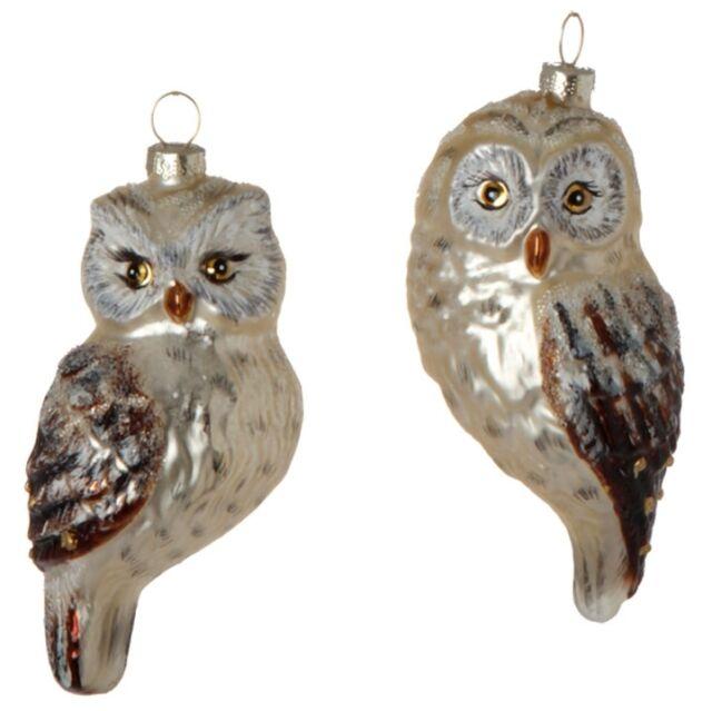"3724537 RAZ Set//2 5/"" Owl Blown Glass Christmas Ornament Bird Barn Forest Friend"