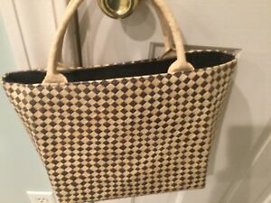 0b739cf5f9f Details about Talbots Woven Straw Tote. Black and tan