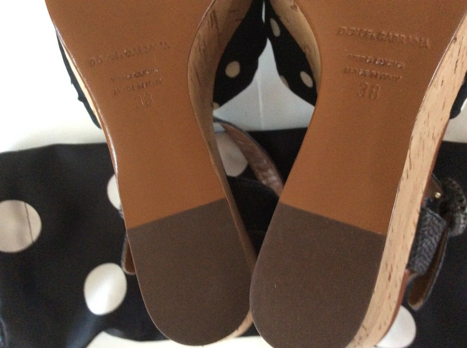 Authentic Dolce&Gabbana Polka Dot Cork - Wedge Sandals EU Size - Cork 38 New in Box 5824a5