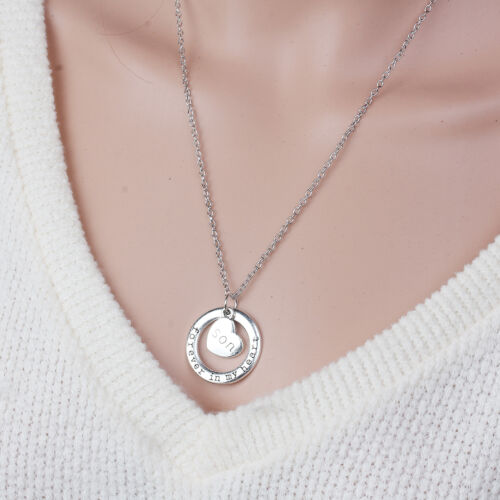 ANTIQUE SILVER FOREVER IN MY HEART SON CIRCLE PENDANT NECKLACE 54cm 46C