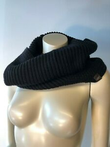 Womens-UGG-Australia-Black-Textured-Cable-Knit-Wool-Snood-Scarf-O-S