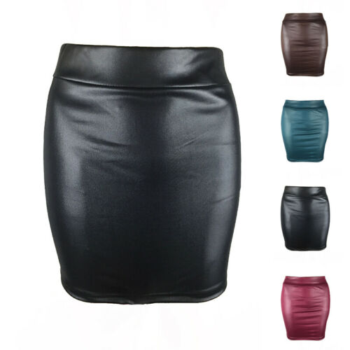 Tight Leather Skirt Pencil Wet look Elasticated Waist Shiny Bodycon PU Leather