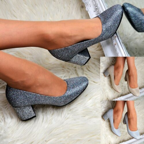 Womens Mid Block Heel Shoes Glitter Slip on Court Heels Ladies Pumps Embellished