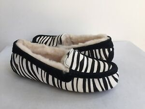 d12ab887188 Details about UGG ANSLEY EXOTIC ZEBRA BLACK MOCCASIN SHOE US 12 / EU 43 /  UK 10.5 NIB