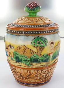EXTREMELY-NICE-VINTAGE-JAPANESE-MARUHON-WARE-SMALL-LIDDED-BISCUIT-LOLLY-JAR