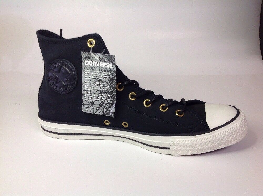 Converse All Star Hi Black Leather 153808C Shoes, Mens Size 12 Shoes