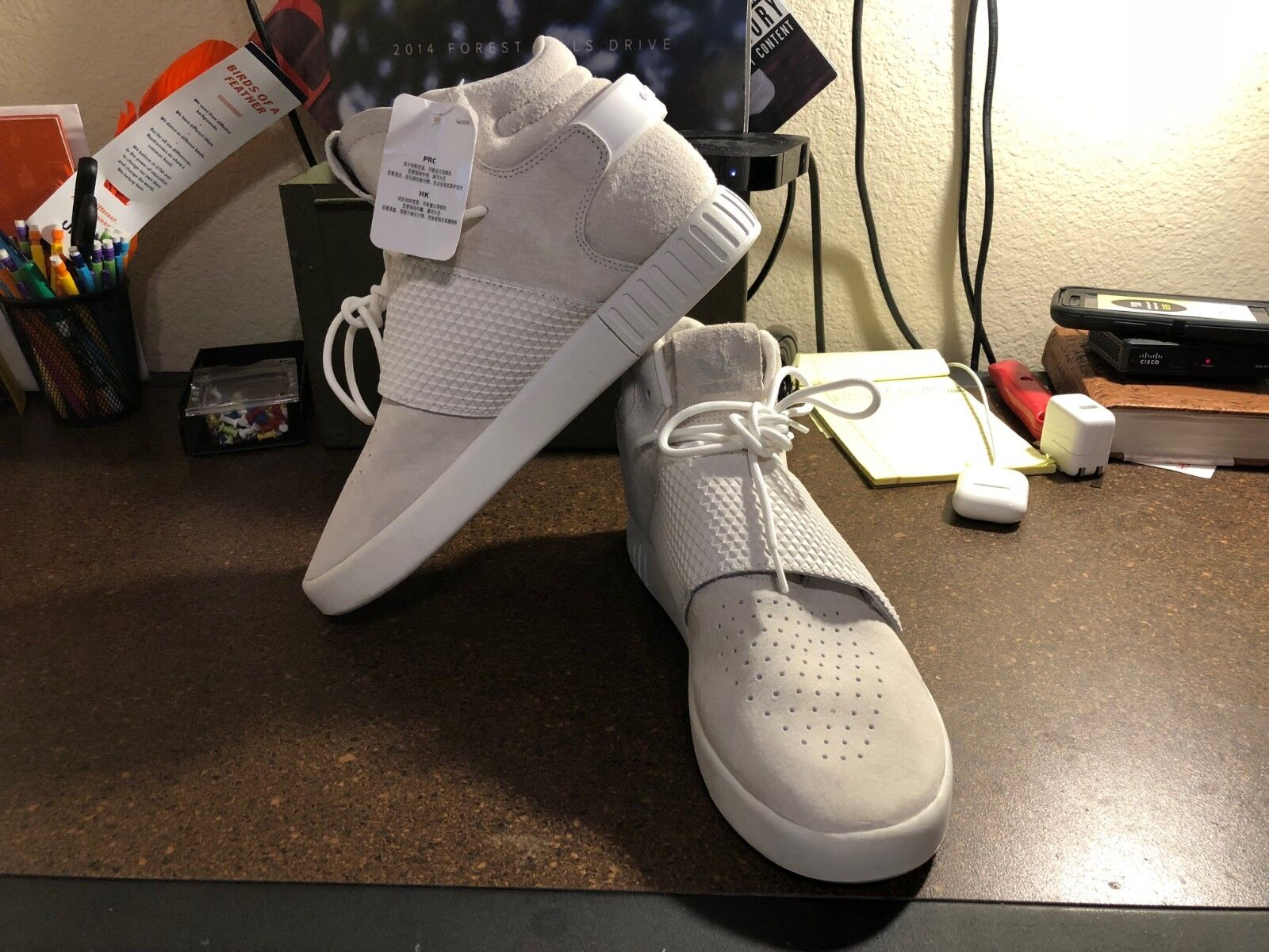 Mens Adidas Originals Tubular Invader Size 10 All White color Way