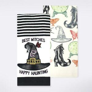 2 pk Best Witches Hat Kitchen Dish Towel Celebrate Halloween 16.5x26 NWT