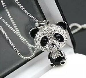 Crystal-Rhinestone-Panda-Bear-Pendant-24-034-Black-amp-Silver-Valentine-Gift