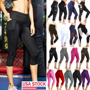 8e191b1a86 Women Running Capri Pockets High Waist Yoga Leggings Fitness Stretch ...