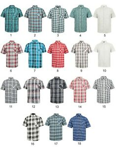 Mens-Shirt-Short-Sleeve-Check-New-Cotton-Blend-Lightweight-Summer-Holiday-Beach