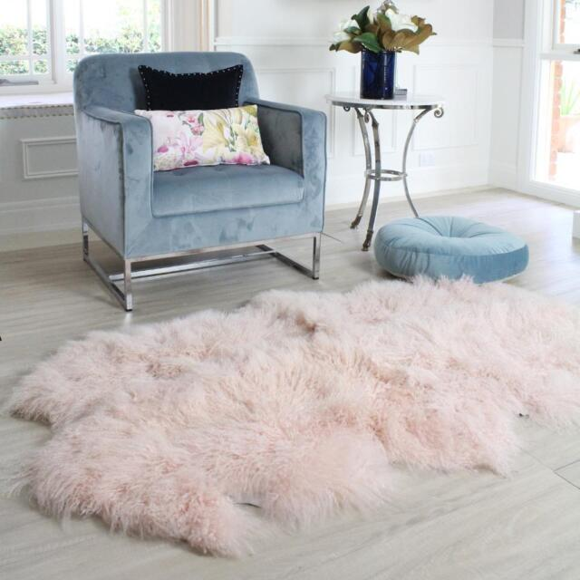 Pink Mongolian Sheepskin Floor Rug Gy Fur Curly Hair 4 Hide Pelt Quatro