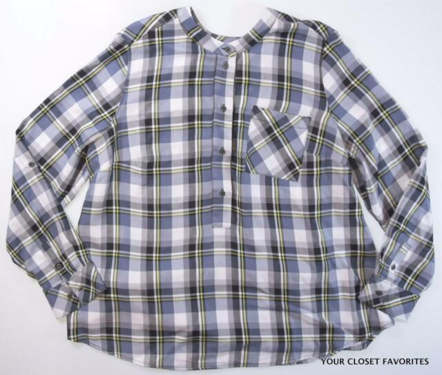 2cb98f1fac2 Lane Bryant Casual Plaid Popover Top Women s Plus size 14 Roll Up Sleeve 1x