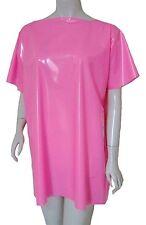 PVC Maglietta T-SHIRT T SHIRT Top Mini Abito Lucido Rosa Shocking Vinile Plastica 1 taglia unisex