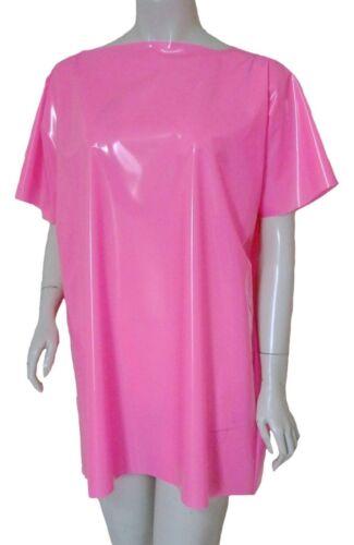 Pvc shirt tee t shirt top mini robe brillant rose chaud vinyle plastique 1 taille unisexe