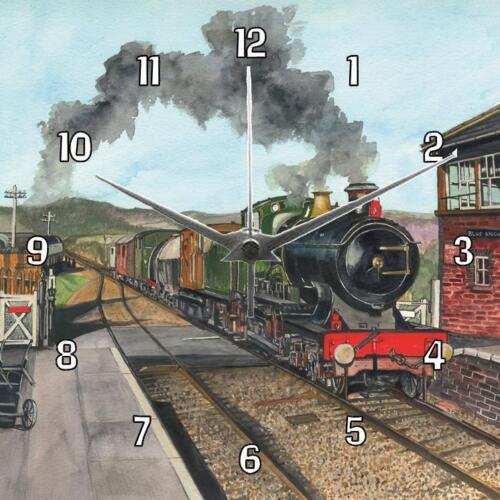 No.129 City of Truro steam train Sue Podbery wall clock Handmade Gift present