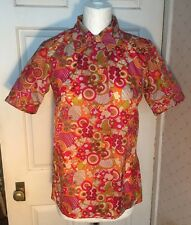 Vintage Retro Handmade Psychedelic Nylon Ladies Shirt Blouse 1960s