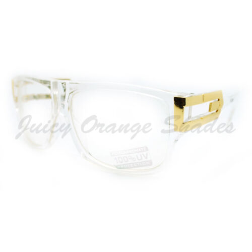 Square Rectangular Clear Lens Glasses Flat Top Metal Plated Frame