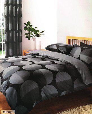 Black and Grey Printed Mirage Design Duvet Quilt Cover Bedding Set