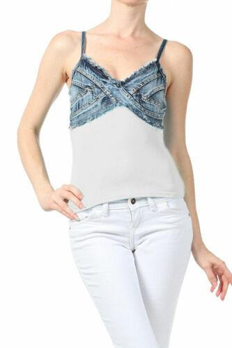 New Women/'s Juniors Distressed Denim Stretchy Sleeveless Cotton Tank Top
