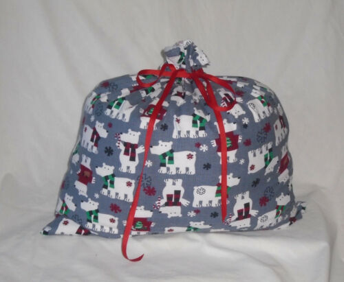Polar Bear In Sweaters Christmas Design Homemade Fabric Gift Bag with Ribbon