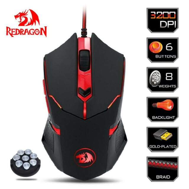 Redragon M601 Gaming Mouse 6 Buttons 3200dpi Usb Mice Backlight For