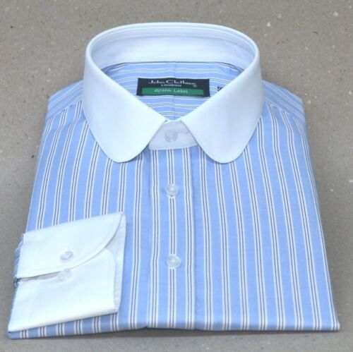 Details about  /Peaky Blinders Sky Blue stripes Mens Penny collar shirts Gents Round Club collar