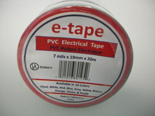 "NEW 10PK PVC ELECTRICAL TAPE 3//4/"" x 60/' x 7mils GREY INSULATION ADHESIVE ROLLS"