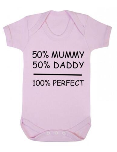 "Baby body drôle /"" 50/% maman 100/% parfait/"" baby grow Fun-Bnwt 50/% papa"